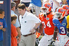 Florida head coach Will Muschamp runs out of the tunnel before the Gators' spring football game on Saturday, April 9, 2011 at Ben Hill Griffin Stadium in Gainesville, Fla. / Gator Country photo by Tim Casey