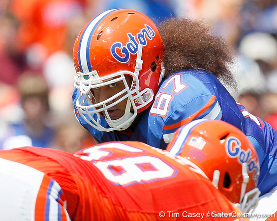 Florida redshirt sophomore tackle/guard Jon Halapio lines up during the Gators' spring football game on Saturday, April 9, 2011 at Ben Hill Griffin Stadium in Gainesville, Fla. / Gator Country photo by Tim Casey