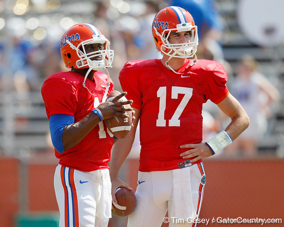 Florida redshirt freshman quarterback Tyler Murphy and sophomore quarterback Christian Provancha warm up before the Gators' spring football game on Saturday, April 9, 2011 at Ben Hill Griffin Stadium in Gainesville, Fla. / Gator Country photo by Tim Casey