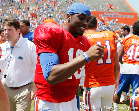 Florida redshirt freshman quarterback Tyler Murphy celebrates with teammates after the Gators' spring football game on Saturday, April 9, 2011 at Ben Hill Griffin Stadium in Gainesville, Fla. / Gator Country photo by Tim Casey