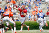 Florida freshman quarterback Jeff Driskel passes during the Gators' spring football game on Saturday, April 9, 2011 at Ben Hill Griffin Stadium in Gainesville, Fla. / Gator Country photo by Tim Casey