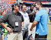Gainesville Sun columnist Pat Dooley talks with Tim Tebow during the Gators' spring football game on Saturday, April 9, 2011 at Ben Hill Griffin Stadium in Gainesville, Fla. / Gator Country photo by Tim Casey