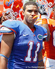 Florida redshirt sophomore tight end Jordan Reed celebrates after the Gators' spring football game on Saturday, April 9, 2011 at Ben Hill Griffin Stadium in Gainesville, Fla. / Gator Country photo by Tim Casey