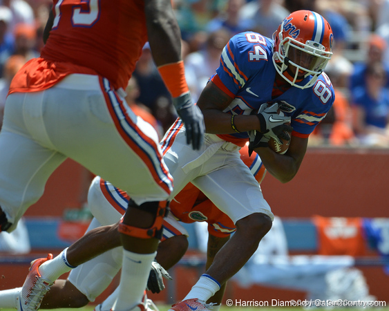 UF wide receiver Quinton Dunbar covers up the ball after a catch during the 2011 Orange and Blue Debut at Ben Hill Griffin Stadium on Saturday, April 9, 2011. / Gator Country photo by Harrison Diamond