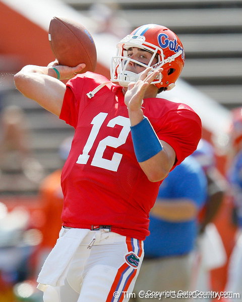 Florida redshirt senior quarterback John Brantley warms up before the Gators' spring football game on Saturday, April 9, 2011 at Ben Hill Griffin Stadium in Gainesville, Fla. / Gator Country photo by Tim Casey