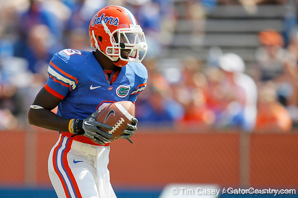Florida redshirt senior running back/receiver Chris Rainey warms up before the Gators' spring football game on Saturday, April 9, 2011 at Ben Hill Griffin Stadium in Gainesville, Fla. / Gator Country photo by Tim Casey