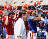 Florida head coach Will Muschamp sings the fight song after the Gators' spring football game on Saturday, April 9, 2011 at Ben Hill Griffin Stadium in Gainesville, Fla. / Gator Country photo by Tim Casey