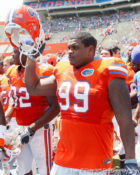 Florida redshirt junior nose tackle Omar Hunter celebrates after the Gators' spring football game on Saturday, April 9, 2011 at Ben Hill Griffin Stadium in Gainesville, Fla. / Gator Country photo by Tim Casey
