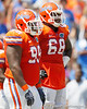 Florida redshirt junior nose tackle Omar Hunter and freshman defensive tackle Leon Orr talk during the Gators' spring football game on Saturday, April 9, 2011 at Ben Hill Griffin Stadium in Gainesville, Fla. / Gator Country photo by Tim Casey