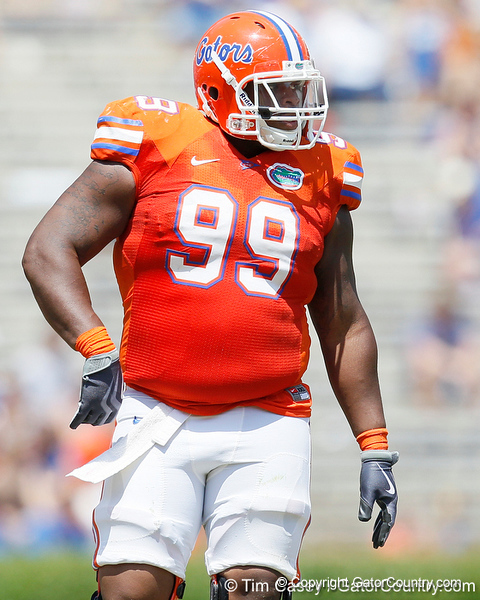 Florida redshirt junior nose tackle Omar Hunter lines up during the Gators' spring football game on Saturday, April 9, 2011 at Ben Hill Griffin Stadium in Gainesville, Fla. / Gator Country photo by Tim Casey