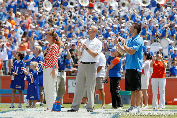 Steve Spurrier, Danny Wuerffel and Tim Tebow are honored during the Gators' spring football game on Saturday, April 9, 2011 at Ben Hill Griffin Stadium in Gainesville, Fla. / Gator Country photo by Tim Casey