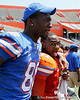 Florida redshirt freshman tight end Michael McFarland and redshirt freshman linebacker Michael Taylor celebrate after the Gators' spring football game on Saturday, April 9, 2011 at Ben Hill Griffin Stadium in Gainesville, Fla. / Gator Country photo by Tim Casey