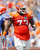 Florida sophomore defensive tackle Sharrif Floyd lines up during the Gators' spring football game on Saturday, April 9, 2011 at Ben Hill Griffin Stadium in Gainesville, Fla. / Gator Country photo by Tim Casey