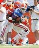 Florida redshirt senior running back/receiver Chris Rainey gets tackled by junior linebacker Jonathan Bostic for a two-yard loss during the Gators' spring football game on Saturday, April 9, 2011 at Ben Hill Griffin Stadium in Gainesville, Fla. / Gator Country photo by Tim Casey