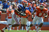 UF wide receiver Quinton Dunbar runs after a catch while cornerback Jeremy Brown (8) pursues him during the 2011 Orange and Blue Debut at Ben Hill Griffin Stadium on Saturday, April 9, 2011. / Gator Country photo by Harrison Diamond