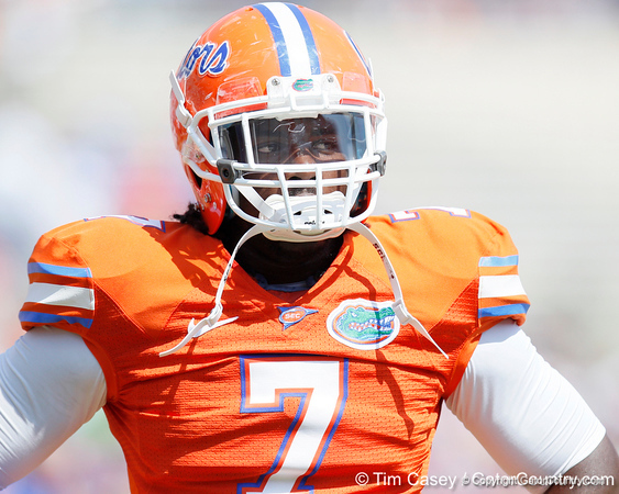Florida sophomore linebacker/defensive end Ronald Powell warms up before the Gators' spring football game on Saturday, April 9, 2011 at Ben Hill Griffin Stadium in Gainesville, Fla. / Gator Country photo by Tim Casey