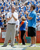 Danny Wuerffel and Tim Tebow are honored during the Gators' spring football game on Saturday, April 9, 2011 at Ben Hill Griffin Stadium in Gainesville, Fla. / Gator Country photo by Tim Casey