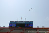 Military jets performs a flyover before the Gators' spring football game on Saturday, April 9, 2011 at Ben Hill Griffin Stadium in Gainesville, Fla. / Gator Country photo by Tim Casey