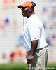 Florida defensive line coach Bryant Young shouts during the Gators' spring football game on Saturday, April 9, 2011 at Ben Hill Griffin Stadium in Gainesville, Fla. / Gator Country photo by Tim Casey