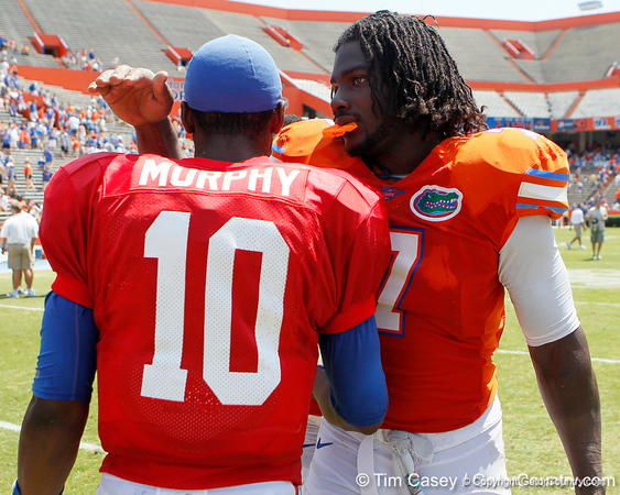 Florida redshirt freshman quarterback Tyler Murphy celebrates with sophomore linebacker/defensive end Ronald Powell after the Gators' spring football game on Saturday, April 9, 2011 at Ben Hill Griffin Stadium in Gainesville, Fla. / Gator Country photo by Tim Casey