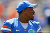 Florida senior running back Jeff Demps walks to the sideline before the Gators' spring football game on Saturday, April 9, 2011 at Ben Hill Griffin Stadium in Gainesville, Fla. / Gator Country photo by Tim Casey