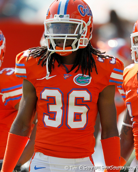 Florida redshirt senior cornerback Moses Jenkins warms up before the Gators' spring football game on Saturday, April 9, 2011 at Ben Hill Griffin Stadium in Gainesville, Fla. / Gator Country photo by Tim Casey