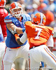 Florida redshirt sophomore tackle Kyle Koehne blocks sophomore linebacker/defensive end Ronald Powell during the Gators' spring football game on Saturday, April 9, 2011 at Ben Hill Griffin Stadium in Gainesville, Fla. / Gator Country photo by Tim Casey
