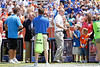 Tim Tebow and Danny Wueffel thank donors during the Gators' spring football game on Saturday, April 9, 2011 at Ben Hill Griffin Stadium in Gainesville, Fla. / Gator Country photo by Tim Casey
