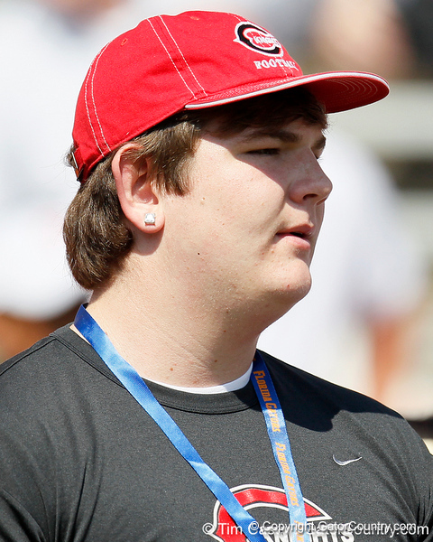 St. John's (Creekside HS) offensive tackle Jordan Swindle watches warmups before the Gators' spring football game on Saturday, April 9, 2011 at Ben Hill Griffin Stadium in Gainesville, Fla. / Gator Country photo by Tim Casey