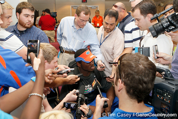 Florida redshirt freshman quarterback Tyler Murphy talks to reporters after after the Gators' spring football game on Saturday, April 9, 2011 at Ben Hill Griffin Stadium in Gainesville, Fla. / Gator Country photo by Tim Casey