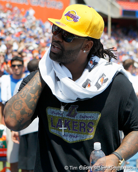 Former Florida linebacker Brandon Spikes looks on during the Gators' spring football game on Saturday, April 9, 2011 at Ben Hill Griffin Stadium in Gainesville, Fla. / Gator Country photo by Tim Casey