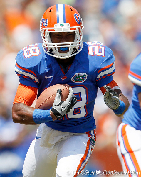 Florida sophomore running back Deandre Goins runs upfield during the Gators' spring football game on Saturday, April 9, 2011 at Ben Hill Griffin Stadium in Gainesville, Fla. / Gator Country photo by Tim Casey