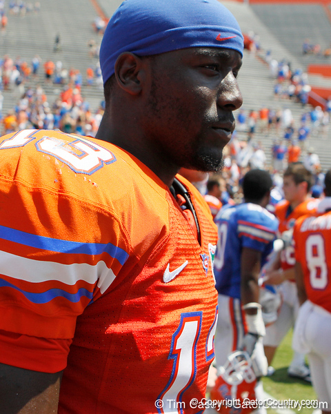 Florida junior linebacker Dee Finley returns to the locker room after the Gators' spring football game on Saturday, April 9, 2011 at Ben Hill Griffin Stadium in Gainesville, Fla. / Gator Country photo by Tim Casey