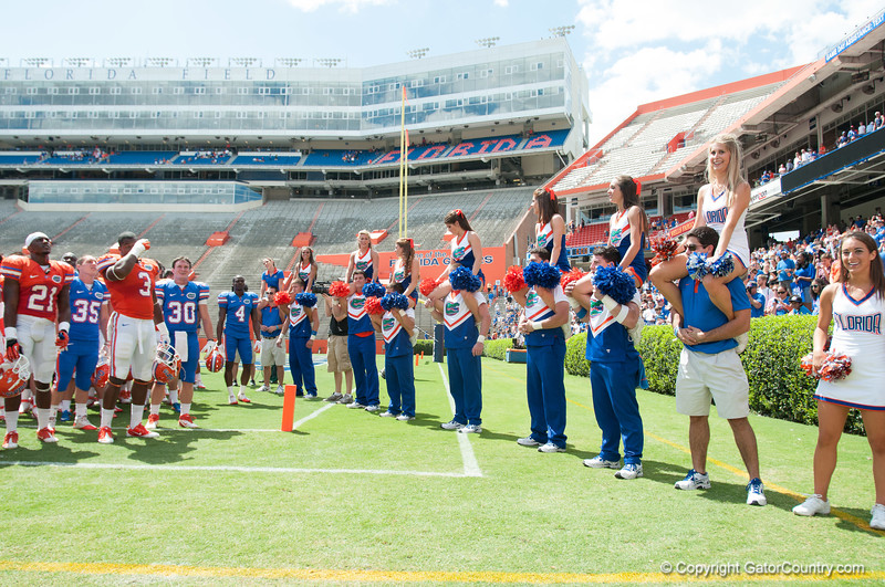 Florida football team during the Gators' Orange and Blue Debut  on Saturday,  April 7, 2012 at the Ben Hill Griffin Stadium in Gainesville, Fla. / Gator Country photo by Saj Guevara