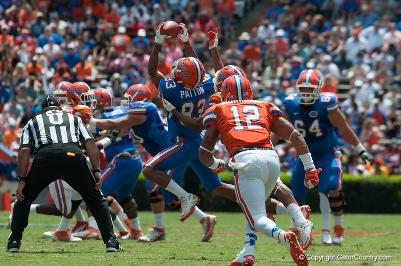 Florida junior Solomon Patton catches the ball during the Gators' Orange and Blue Debut  on Saturday,  April 7, 2012 at the Ben Hill Griffin Stadium in Gainesville, Fla. / Gator Country photo by Saj Guevara