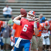 Florida sophomore Jeff Driskel  warming up   during the Gators' Orange and Blue Debut  on Saturday,  April 7, 2012 at the Ben Hill Griffin Stadium in Gainesville, Fla. / Gator Country photo by Saj Guevara
