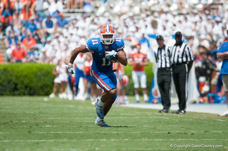 Florida red shirt junior Jordan Reed  during the Gators' Orange and Blue Debut  on Saturday,  April 7, 2012 at the Ben Hill Griffin Stadium in Gainesville, Fla. / Gator Country photo by Saj Guevara