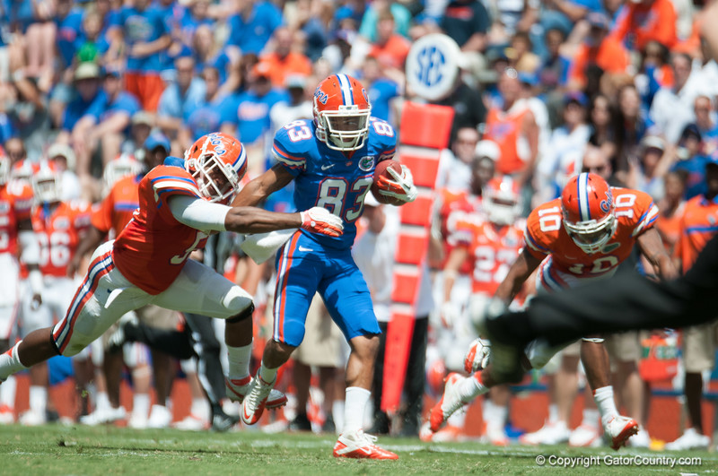 Florida junior Solomon Patton rushes during the Gators' Orange and Blue Debut  on Saturday,  April 7, 2012 at the Ben Hill Griffin Stadium in Gainesville, Fla. / Gator Country photo by Saj Guevara