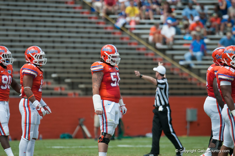Florida senior Nick Alajajian on defense during the Gators' Orange and Blue Debut  on Saturday,  April 7, 2012 at the Ben Hill Griffin Stadium in Gainesville, Fla. / Gator Country photo by Saj Guevara