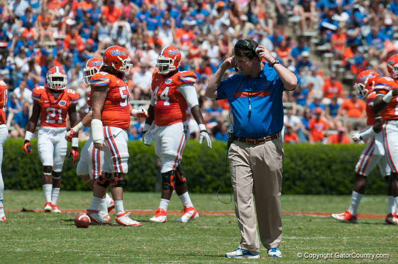 Florida coach Will Muschamp during the Gators' Orange and Blue Debut  on Saturday,  April 7, 2012 at the Ben Hill Griffin Stadium in Gainesville, Fla. / Gator Country photo by Saj Guevara