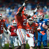 Florida red shirt sophomore Gideon Ajagbe calebrates after tackling Chris Johnson during the Gators' Orange and Blue Debut  on Saturday,  April 7, 2012 at the Ben Hill Griffin Stadium in Gainesville, Fla. / Gator Country photo by Saj Guevara
