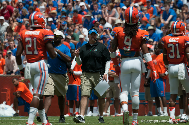 Florida defensive Coordinator Dan Quinn during the Gators' Orange and Blue Debut  on Saturday,  April 7, 2012 at the Ben Hill Griffin Stadium in Gainesville, Fla. / Gator Country photo by Saj Guevara
