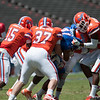 Florida sophomore Hunter Joyer is tackled during the Gators' Orange and Blue Debut  on Saturday,  April 7, 2012 at the Ben Hill Griffin Stadium in Gainesville, Fla. / Gator Country photo by Saj Guevara