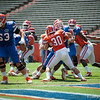 Florida junior Tim Clark on defense during the Gators' Orange and Blue Debut  on Saturday,  April 7, 2012 at the Ben Hill Griffin Stadium in Gainesville, Fla. / Gator Country photo by Saj Guevara