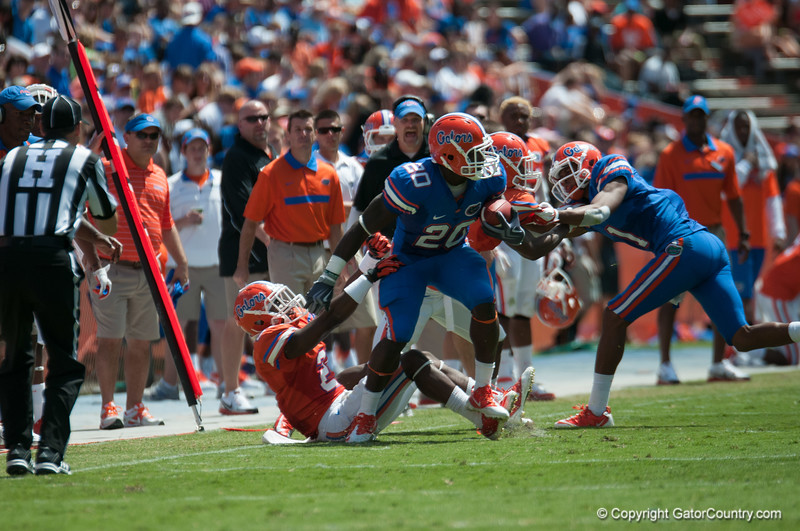 Florida red shirt senior Omarius Hines during the Gators' Orange and Blue Debut  on Saturday,  April 7, 2012 at the Ben Hill Griffin Stadium in Gainesville, Fla. / Gator Country photo by Saj Guevara