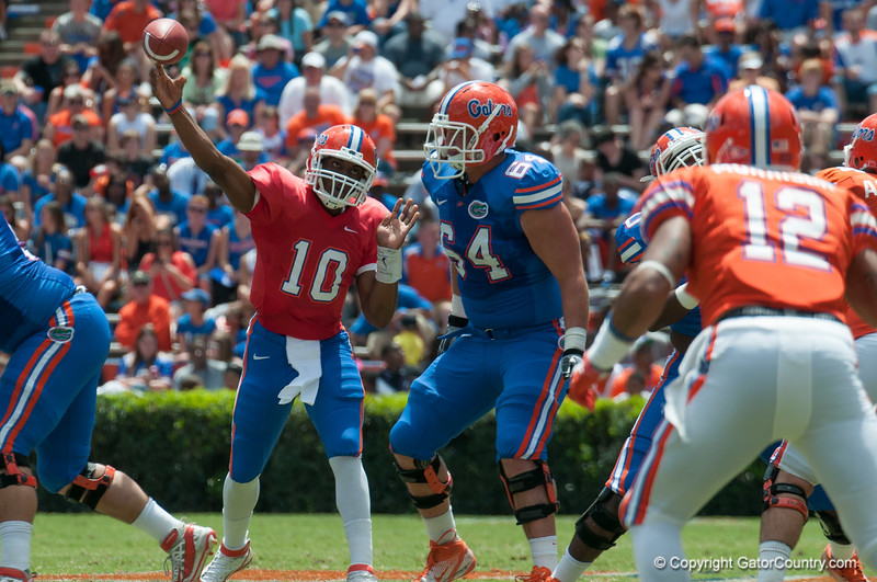 Florida red shirt sophomore Tyler Murphy at quarterback  during the Gators' Orange and Blue Debut  on Saturday,  April 7, 2012 at the Ben Hill Griffin Stadium in Gainesville, Fla. / Gator Country photo by Saj Guevara