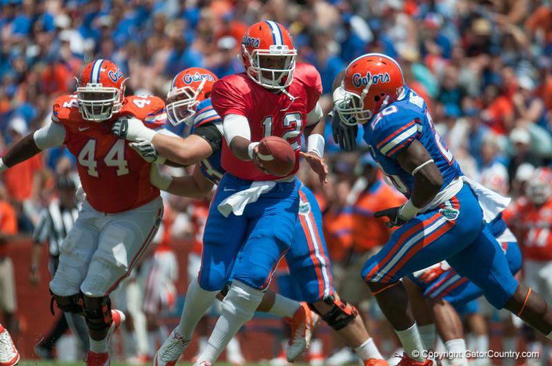 Florida sophore Jacoby Brissett at quarterback  during the Gators' Orange and Blue Debut  on Saturday,  April 7, 2012 at the Ben Hill Griffin Stadium in Gainesville, Fla. / Gator Country photo by Saj Guevara