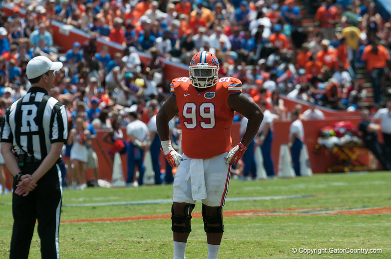 Florida red shirt senior Omar Hunter ono defense during the Gators' Orange and Blue Debut  on Saturday,  April 7, 2012 at the Ben Hill Griffin Stadium in Gainesville, Fla. / Gator Country photo by Saj Guevara