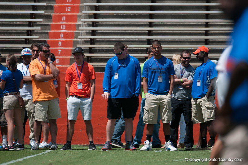 Recruits watching during the Gators' Orange and Blue Debut  on Saturday,  April 7, 2012 at the Ben Hill Griffin Stadium in Gainesville, Fla. / Gator Country photo by Saj Guevara