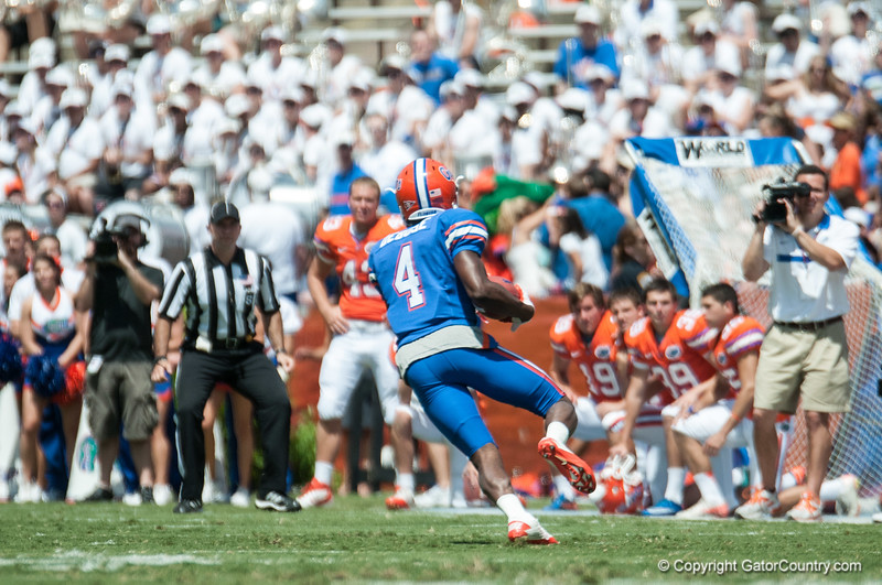 Florida junior Andre Debose runs during the Gators' Orange and Blue Debut  on Saturday,  April 7, 2012 at the Ben Hill Griffin Stadium in Gainesville, Fla. / Gator Country photo by Saj Guevara